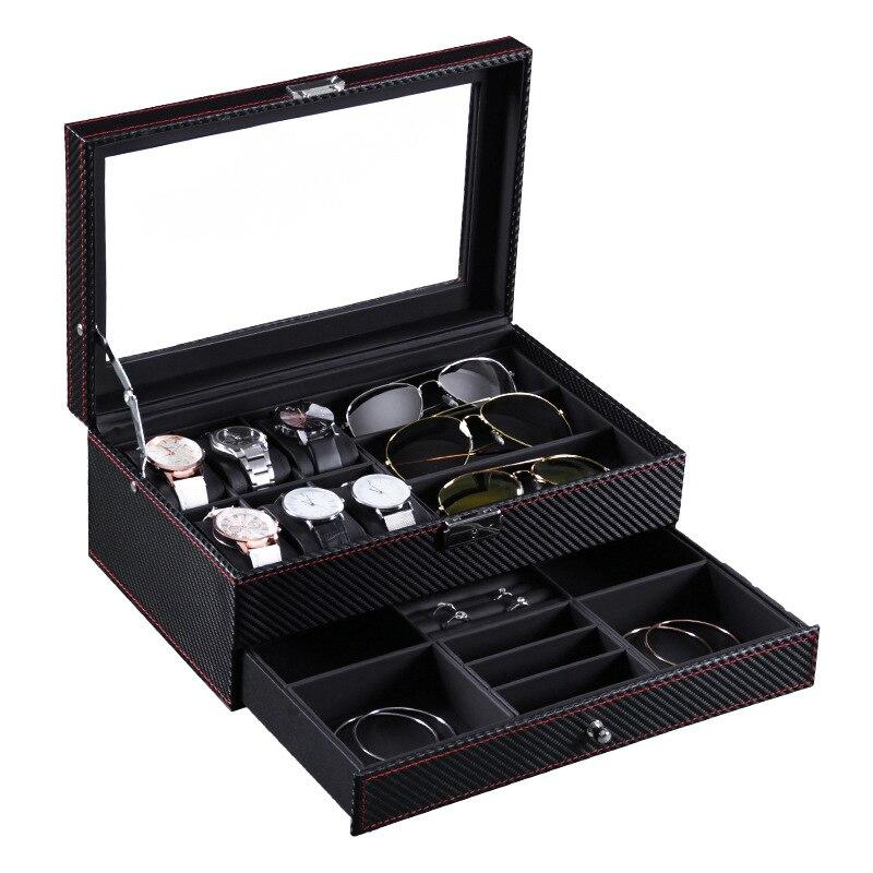 6 fentes montre boîte bijoux organisateur verrouillable vitrine de lunettes de soleil