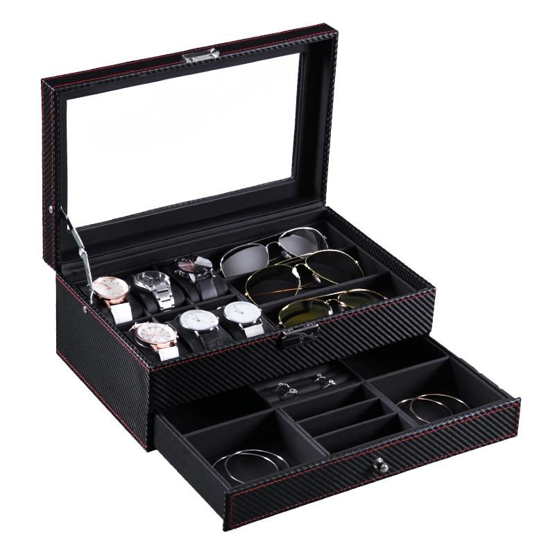 6 Slots Watch Box Jewelry Organizer Lockable Sunglass Display Case