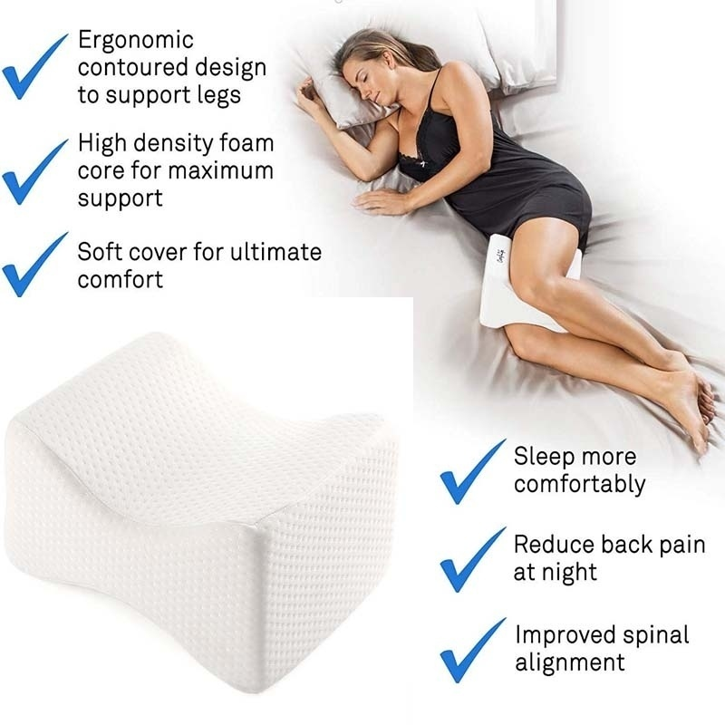 Memory Foam Wedge Contour Orthopedic Knee Pillow For Sciatica Relief, Back Pain Leg Pain Pregnancy Hip And Joint Pain