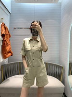 2020 Summer High Quality Women Runway Jumpsuit New Handsome Short Sleeved Playsuits