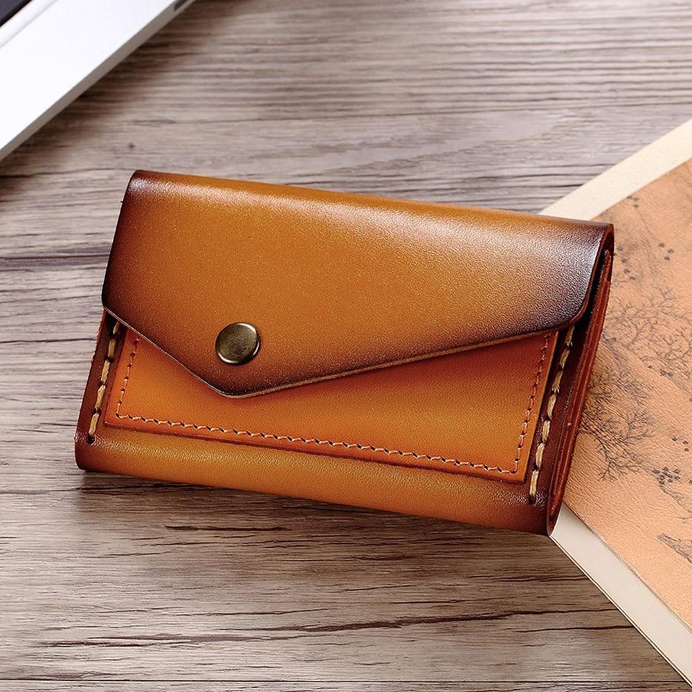 Hand Stitch Genuine Leather Card Holder Porte Carte Vintage Bifold Wallet For Credit Cards