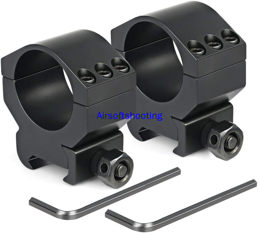 2 Pcs Hunting Air Rifle Gun Scope Mount Rings 1 Inch 30mm 25.4mm Medium Profile For 20/21 Mm Picatinny Rails (2 Pieces)