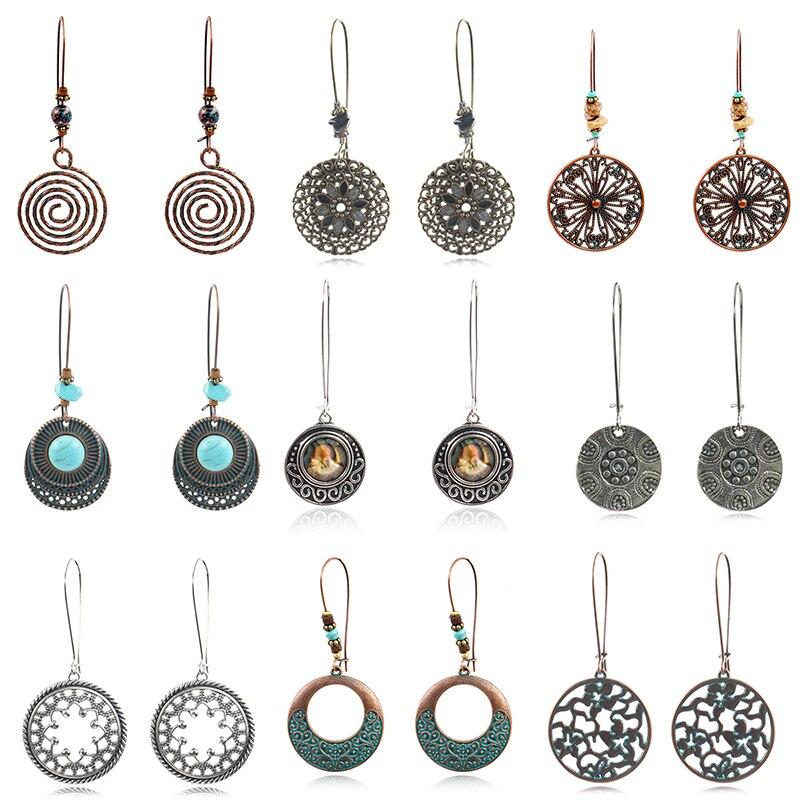 Women Retro Popular Geometric Sculptured Circular Earrings In Fashion With Ethnic Bronze Bohemian Drop Earrings