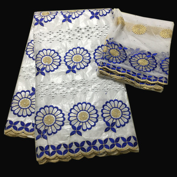 White African lace fabrics Hollow out design bazin riche getzner with scarf Nigerian lace fabric for dress high quality lace