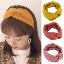 Korean Women Vintage Ribbed Knit Wide Headband Criss Cross Twist Knotted Hairband Macaron Cream Color Stretchy Makeup Turban criss cross back ribbed tee