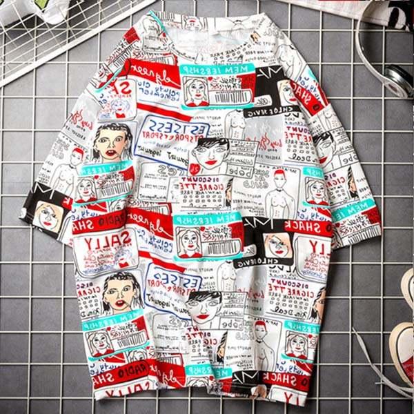 Koreańskie koszule damskie litery w paski odzież T koszulki  1mFp9