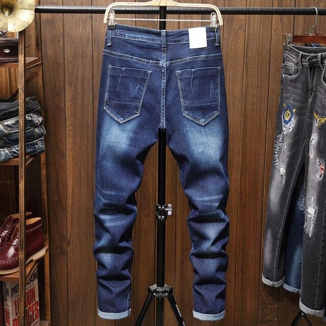 Pantalones vaqueros ajustados para hombre, pantalones ceñidos con estampado de motorista azul, informales, de chándal, a la moda 2