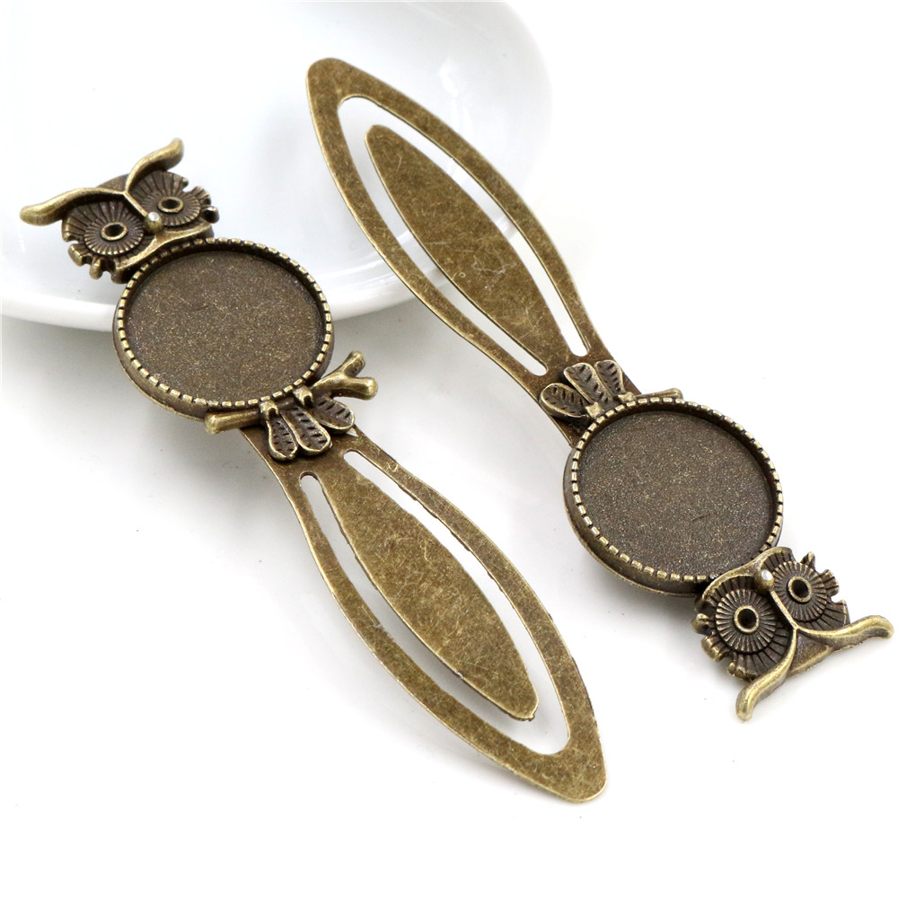 New Fashion 2pcs 20mm Inner Size Antique Bronze Vintage Style Handmade Bookmark Cabochon Base  Cameo Setting (I1-18)