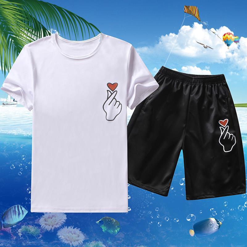 Summer Short Sleeve T-shirt Sports Set Men's Trend Korean-style Men Summer A Set Of 2019 New Style Casual Two-Piece Set