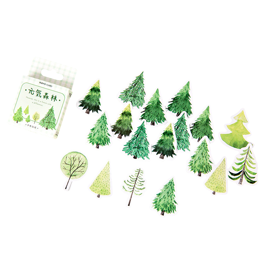 30packs/lot Yuan Qi Forest Boxed Sticker Cute Student Office Supplie Journal Planner Cool Stickers