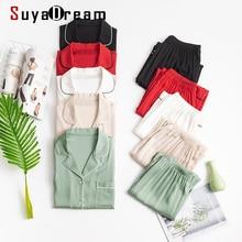 SuyaDream Women Silk Pajamas Solid 93%Silk 7%Spandex Long Sleeves Turn Down Collar Sleepset Set 2020 Red Two-piece Nightwear