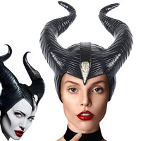 2019 New Maleficent 2 Witch Horns Hat Headwear PVC Mask Helmet Party Black Queen Headpiece Hat Cap Mistress of Evil Cosplay