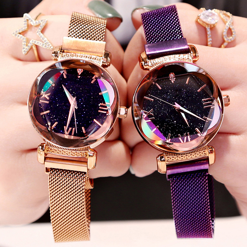 Luxury Rose Gold Women Watches Fashion Diamond Ladies Starry Sky Magnet Watch Female Wristwatch Clock 2019 Hours Saati Reloj