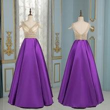 Фиолетовые Вечерние платья трапеции с глубоким v образным вырезом