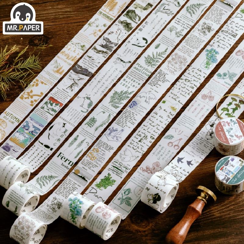 Mr.Paper 8 Design Natural View Japan Plant Bullet Journaling Washi Tape Scrapbook Album Gadget Set Deco Masking Tapes Child Gift