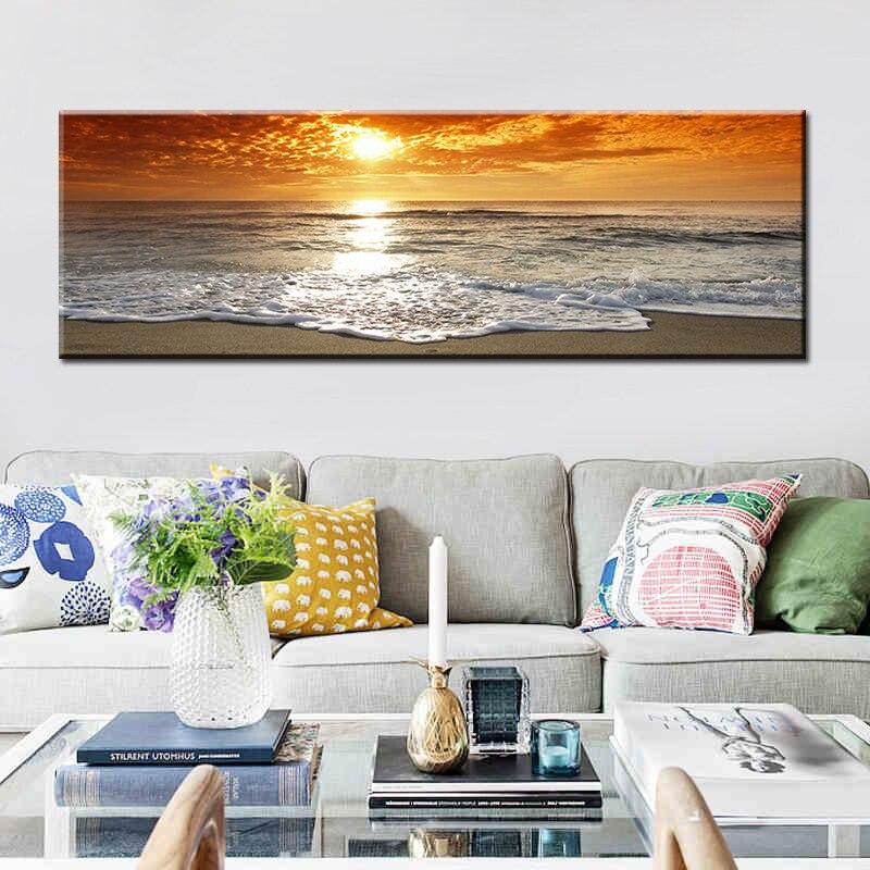Pôr do sol natural praia praia paisagem posteres e impressões tela pintura panorâmica escandinavo imagem de parede para sala de estar