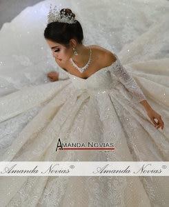 Image 2 - Trouwjurk mariage brautkleid 2020 weg von der schulter ärmel hochzeit kleid echt fotos gleiche 100%