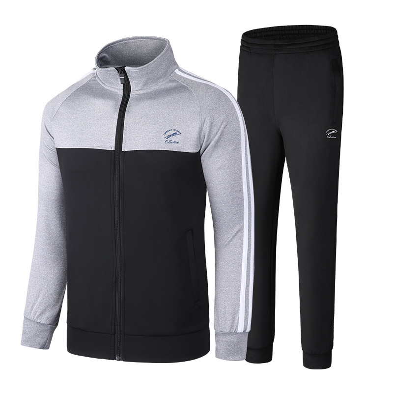 Ling Bao Men's Casual Couples Set Long-sleeve Suit City Stand Collar Set Sports Clothing Jogging Suits