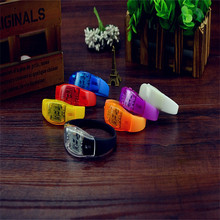 Voice/vibration/button control flashing silicone LED light hand link day party atmosphere lighting Glowing bracelet 8.28