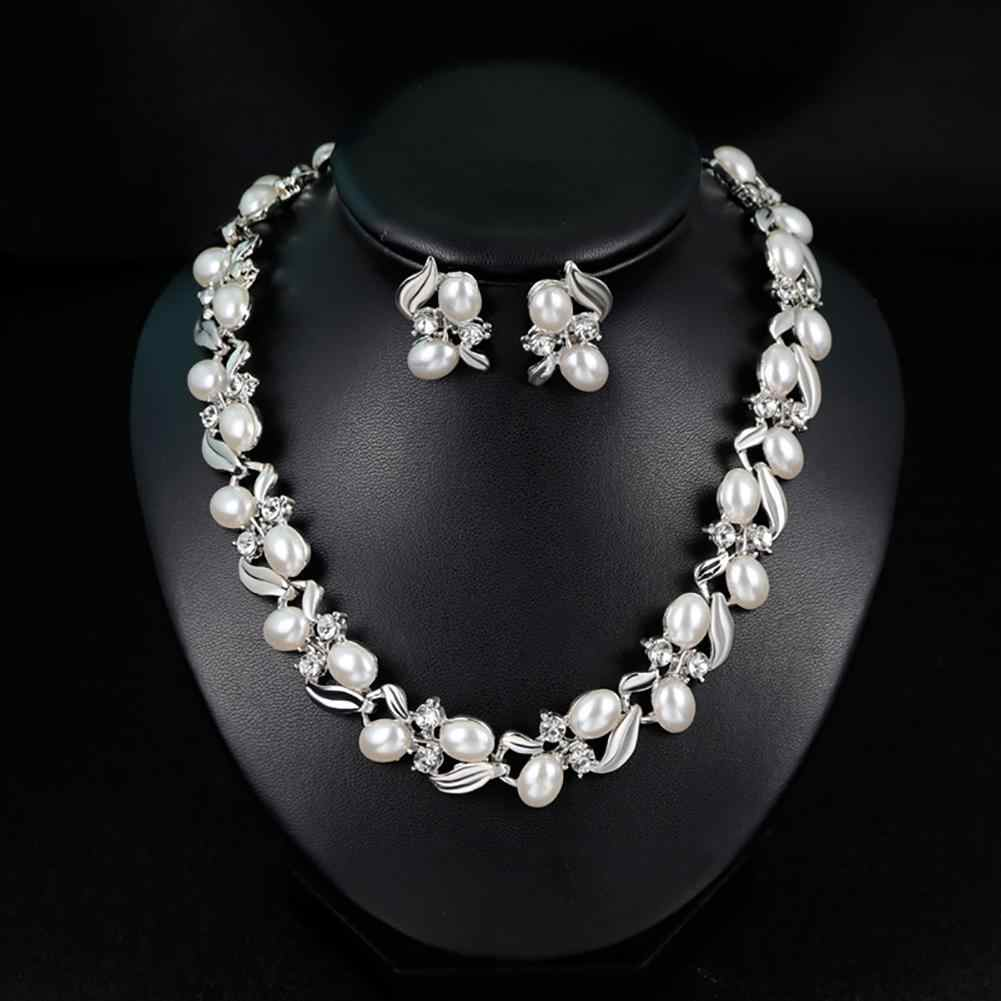 Fashion Rhinestone Faux Pearl Necklace Earrings Women Bride Wedding Jewelry Set New Chic