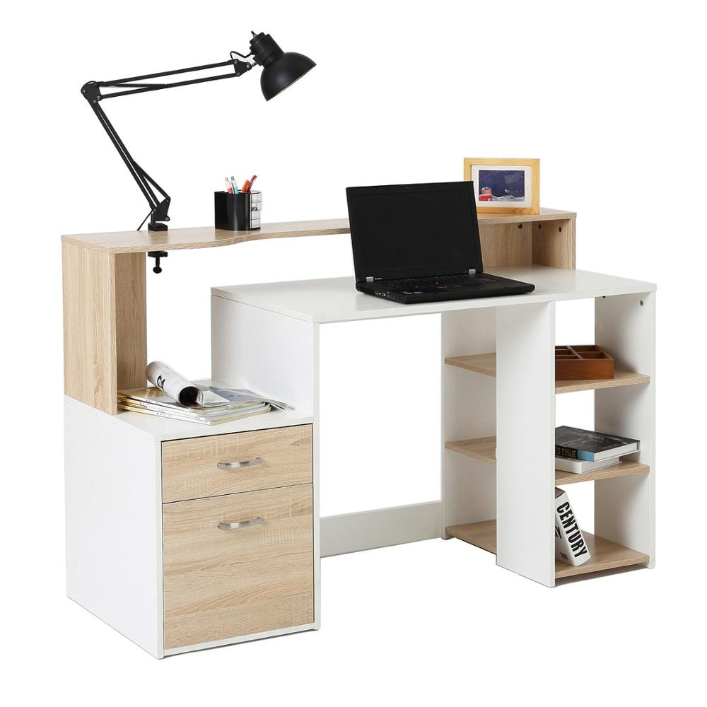 "【USA Warehouse】55"" Multi-Shelf Dorm And Home Office Computer Desk - Oak/White"
