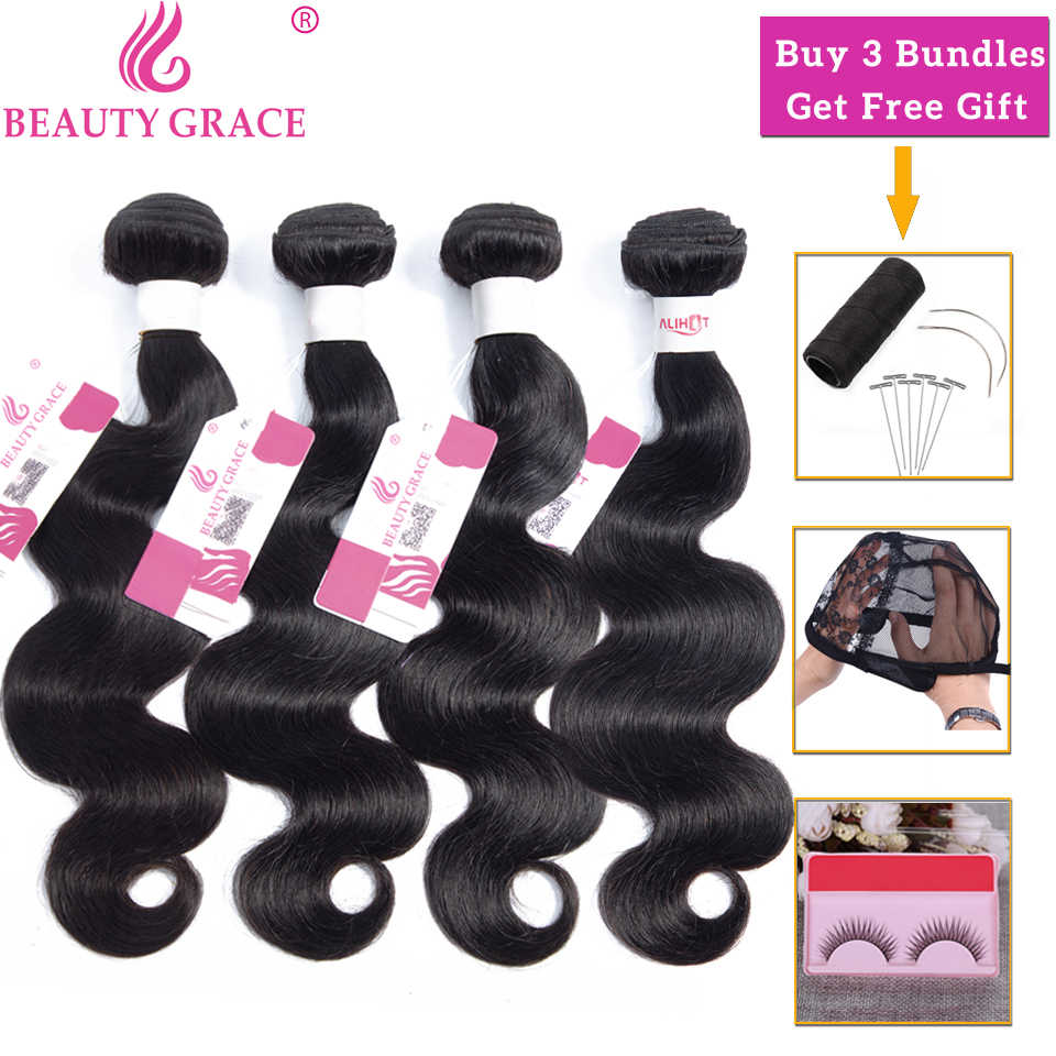 Beauty Grace Body Wave Bundels 100% Human Hair Bundels Deals Peruaanse Braziliaanse Hair Weave Bundels Niet-Remy Hair Extension