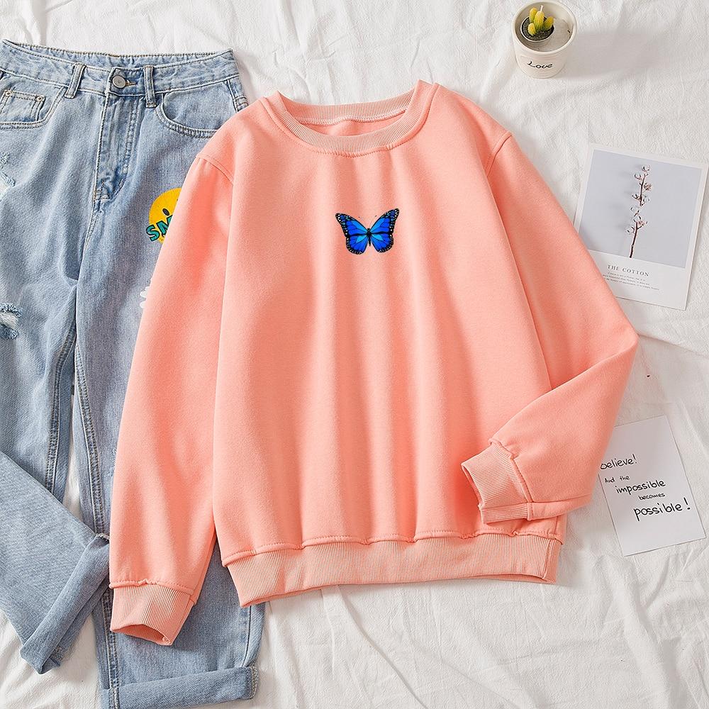 Oversized Sweatshirt Women School Thickening Hot Royal Blue Butterfly Print Round Neck Solid Hoodie Female Aesthetic Sweatshirts 10