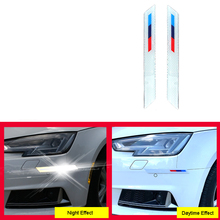 2Pcs Carbon Fiber Car Front Rear Bumper Edge Guard Strip Anti-collision Scratch Protection Reflective Warning Stickers Universal