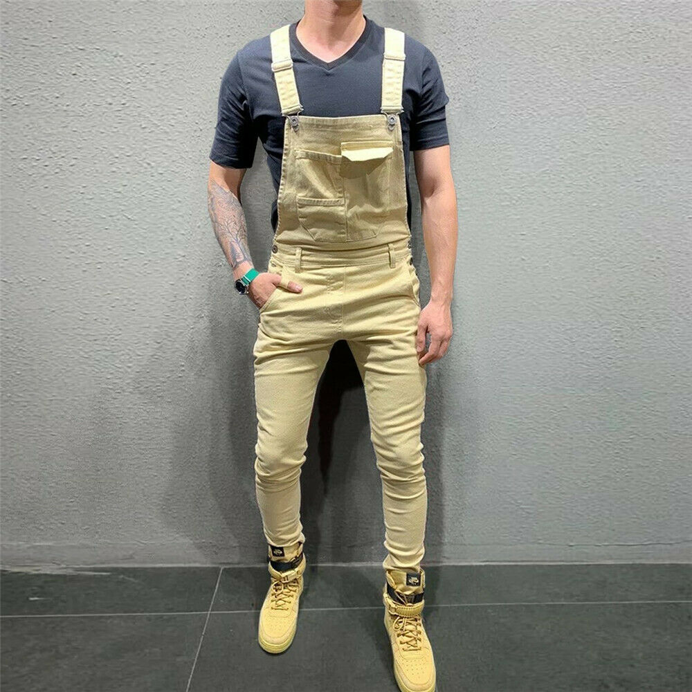 Men Denim Bib Pants 2019 New Male Suspenders Overalls Long Pants Casual Pockets Jumpsuits Jeans Trousers Men