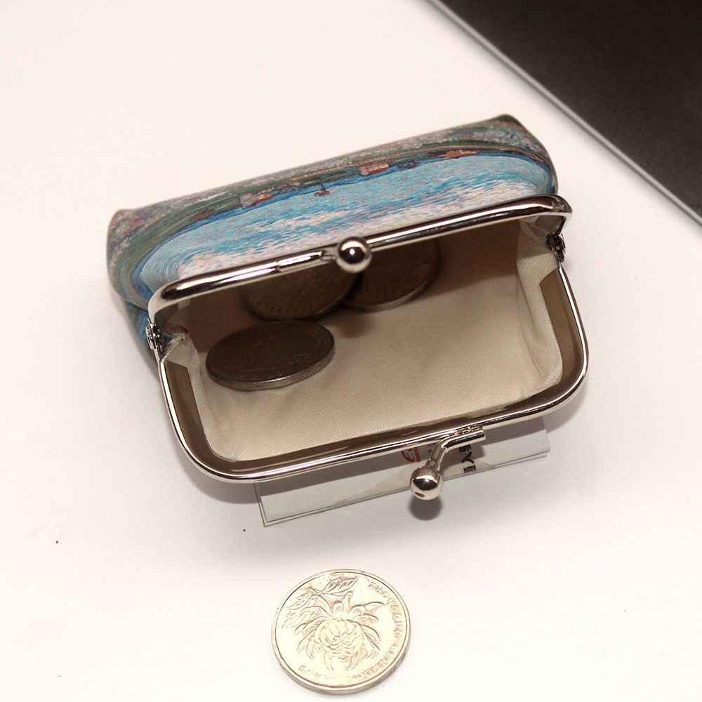 1pc Vintage การพิมพ์เหรียญกระเป๋าสำหรับผู้หญิงผู้หญิง Hasp กระเป๋าสตางค์ผู้หญิงคลัทช์เปลี่ยนกระเป๋าถือหญิงเงินมินิคีย์การ์ดกระเป๋าหนัง PU
