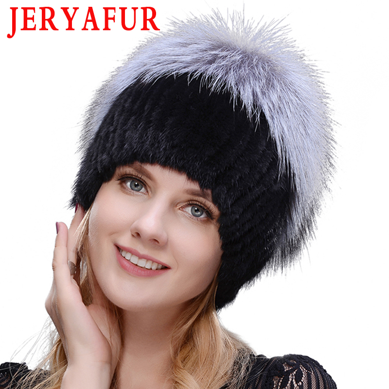 2019 Hot Sale Fashion Mink Fox Hat Winter Warm Women Knitting Caps Mink Hats Vertical Weaving With FOX Fur On The Top