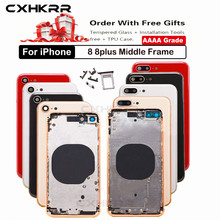 Replacement Back Cover for IPhone 8 8plus X/XS/XR Rear Housing Middle Frame with Back Battery Door Glass, Black White Red gold стоимость