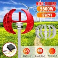 5600W Wind Turbine Generator+Controller 12V 24V 5 Blades Lantern Vertical Axis Permanent Magnet Generator for Home Streetlight