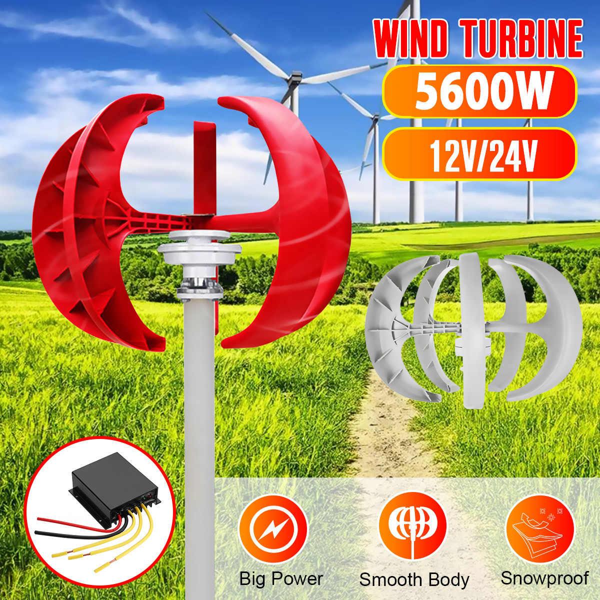 5600W rüzgar rüzgar türbini jeneratör + denetleyici 12V 24V 5 bıçak fener dikey eksenli kalıcı mıknatıs jeneratör ev için sokak lambası