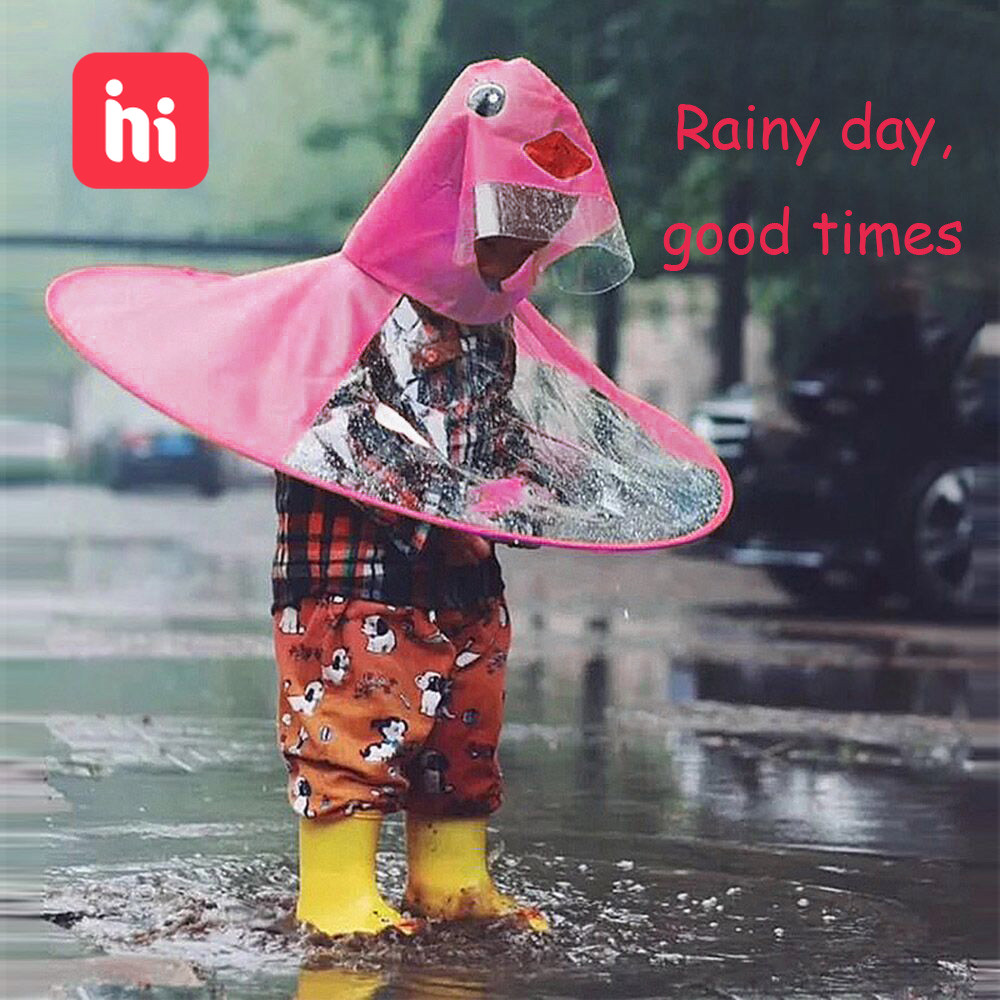 Cute Raincoat Cartoon Duck Kids Rain Coat UFO Children Umbrella Hat Magical Hands Free Tops Boys And Girls Windproof Poncho Baby