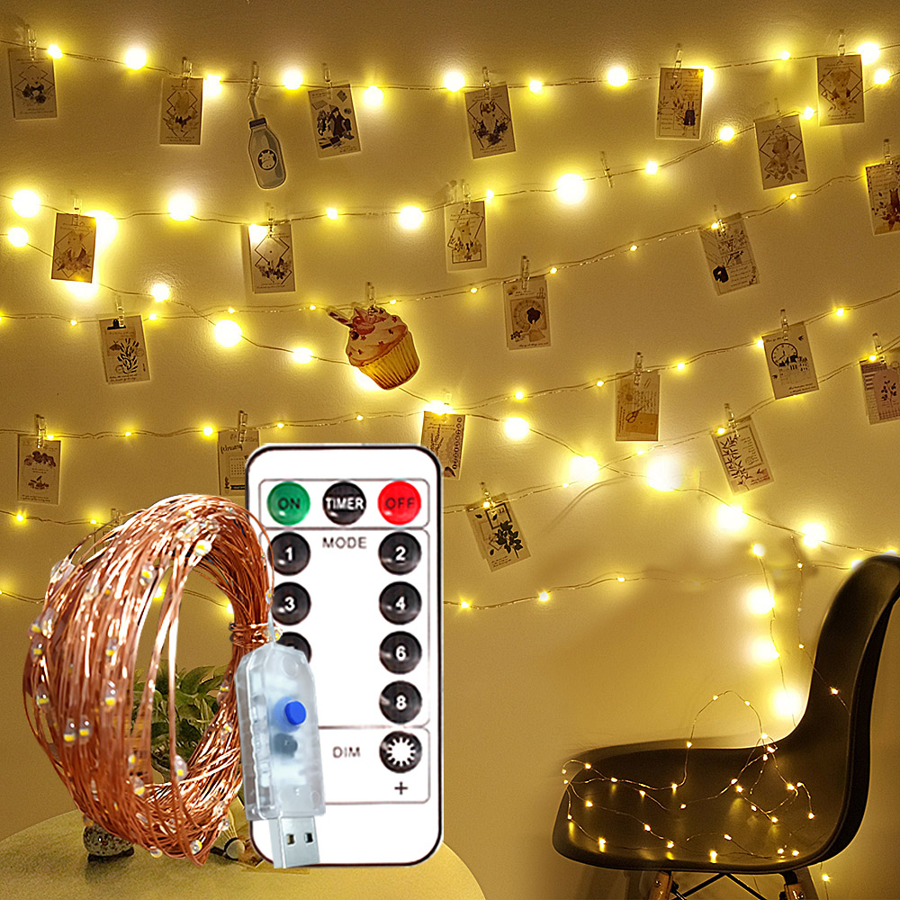 Christmas Photo Clip Fairy Lights USB LED String with Remote 10m 100 LED Garland Lights Decoration Warm White Wedding/Party Lamp