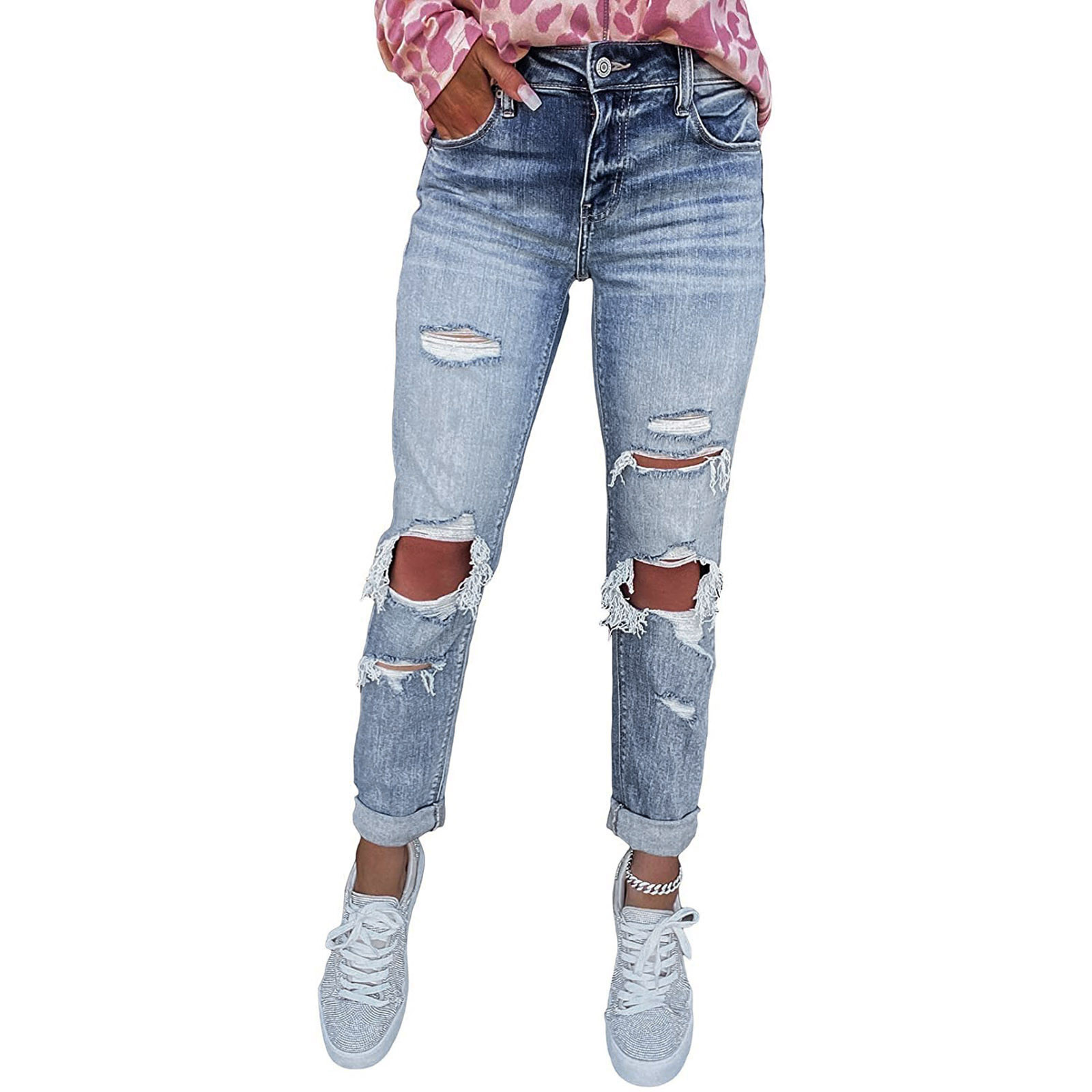 Jeans Woman High Waist Straight Fashion Solid Pockets Slim-Fit Skinny Denim Ripped Jeans Casual Pants