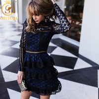 SMTHMA High quality spring Runway Self portrait Dress blue/white lace Long sleeve dress