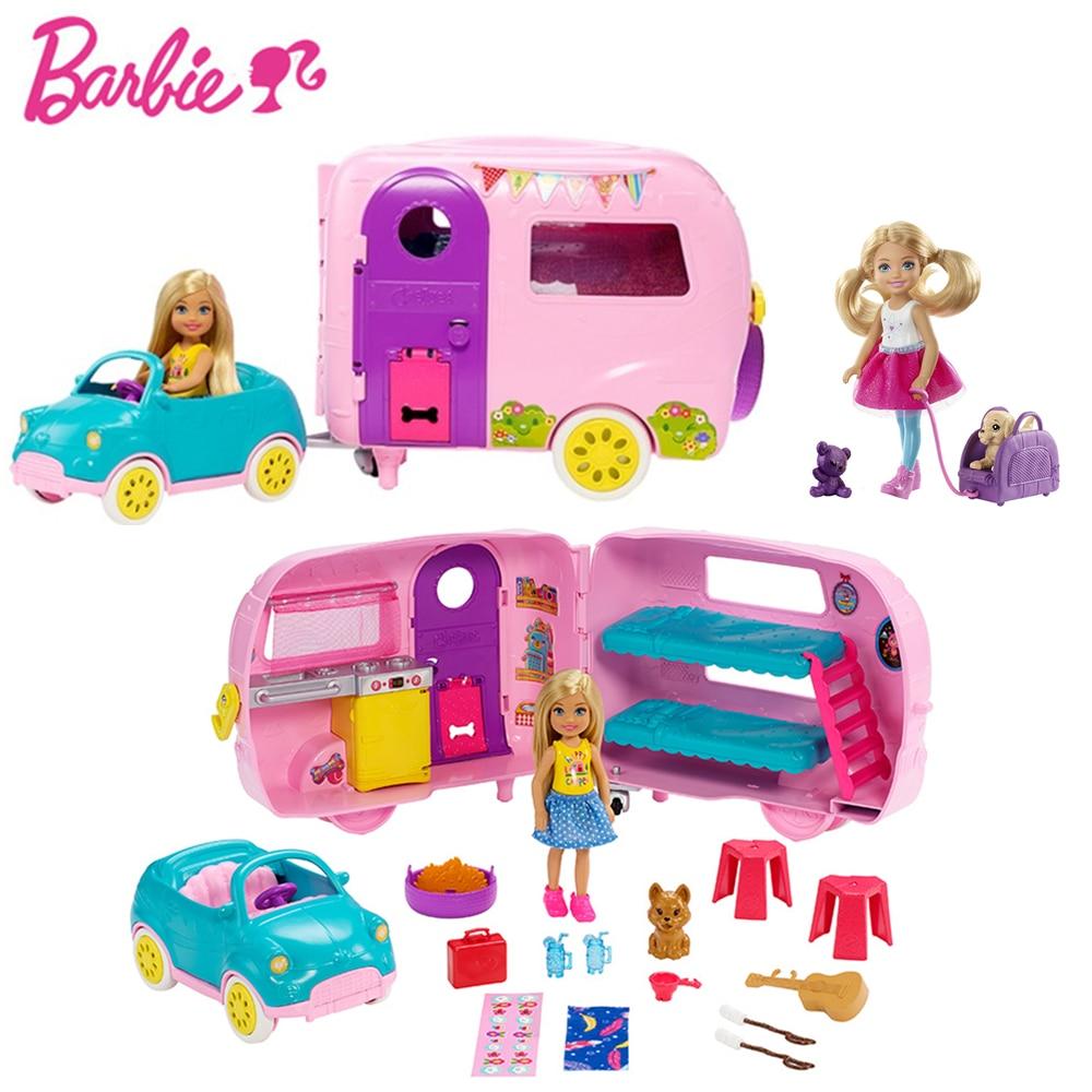 Echte Barbie Club Camping Auto Chelsea Serie Spielset mit Puppe Welpen Auto Haus Transforming Spielzeug für Mädchen Kid Brinquedos Geschenk