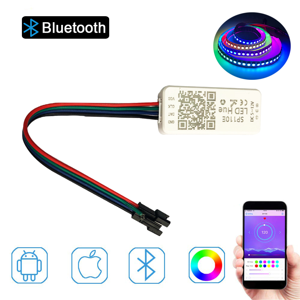 WS2812B WS2811 Addressable LED Bluetooth Controller iOS Android App Wireless Remote Control DC 5V~12V for SK6812 SK6812-RGBW WS2 image