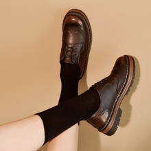 Retro British Style Oxford Shoes For Women Genuine Leather Woman 2019 Autumn Full Grain Brogues Platform