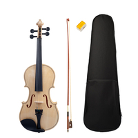 4/4 Full Size Acoustic Violin Smooth Polishing Surface with Bow/Rosin/Case/Bridge Music Instrument for Students Adults
