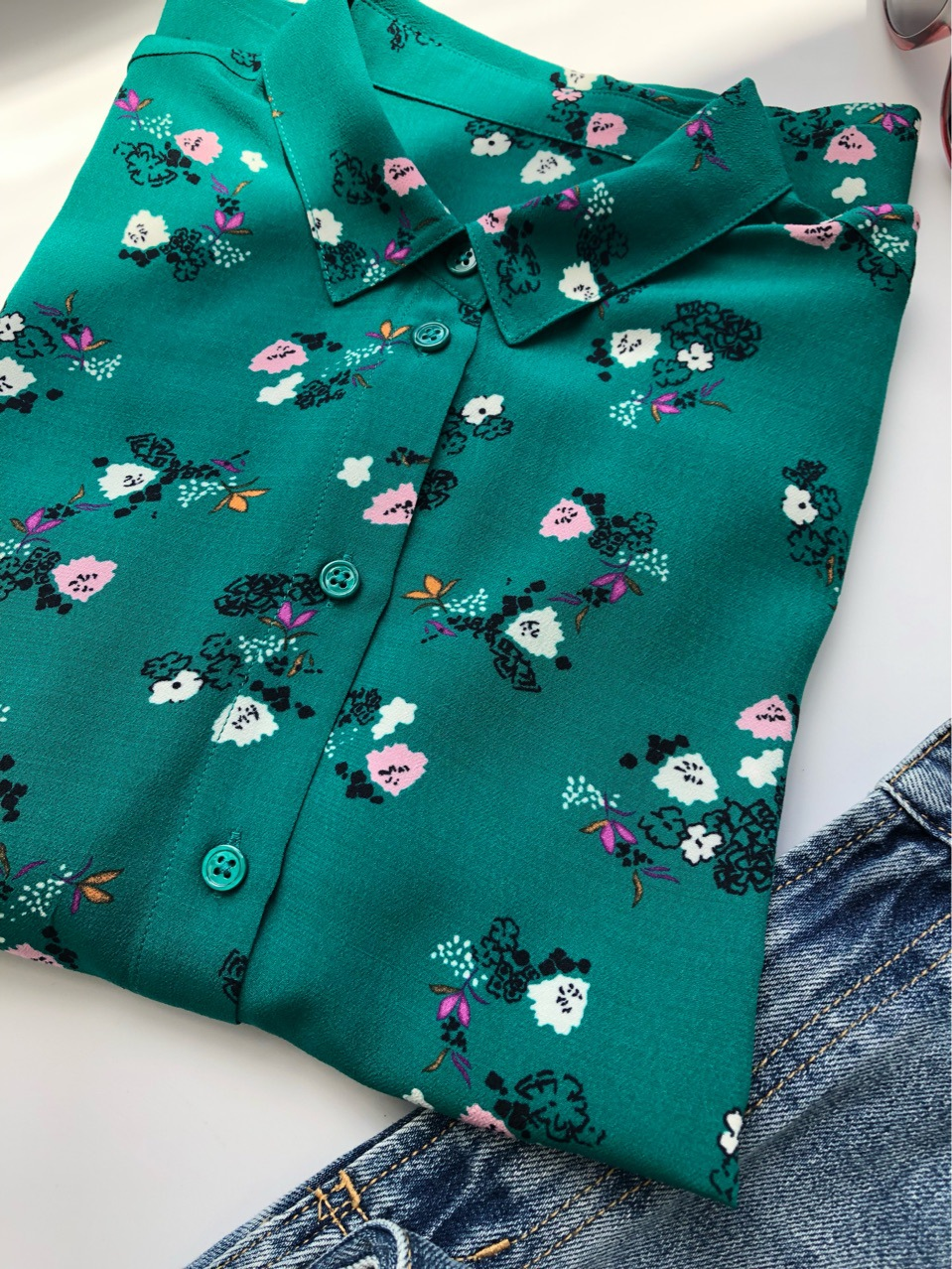 100% Viscose Autumn Shirt Women Green Forest Floral Print Three Quarter Sleeve ladies Blouses and tops Casual with buttons