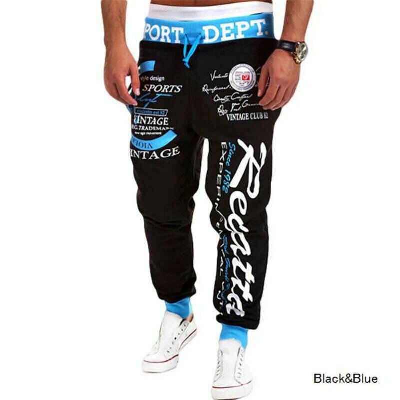 男性のスリムフィット都市レタープリント弾性ウエストストレート脚ズボンカジュアル鉛筆ジョガー貨物パンツトラックスーツ