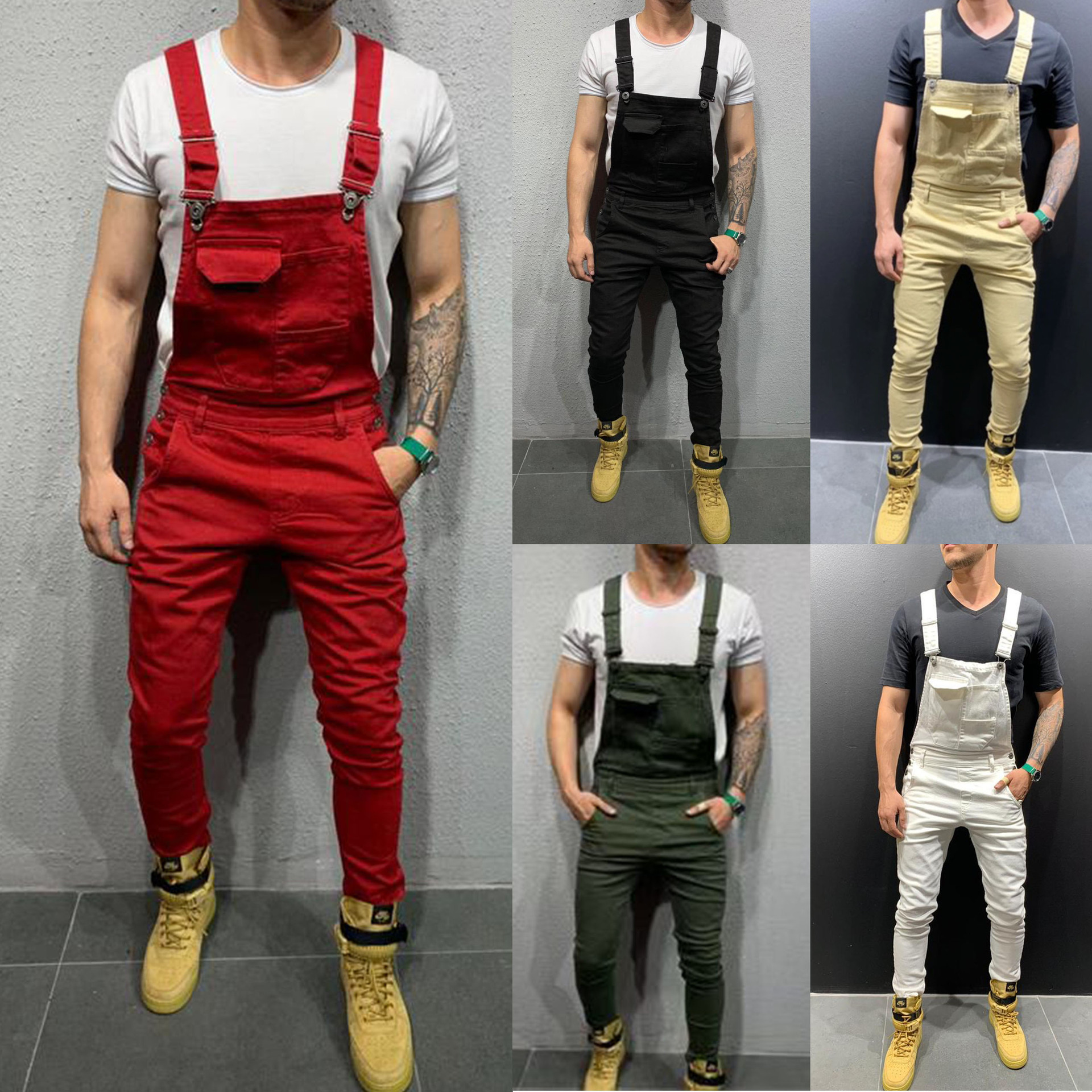5 Colors Rompers Ripped Jeans For Men Zipper Fly Skinny Midweight Denim Pants Elastic Waist Big Size Slim Fit Super High Quality