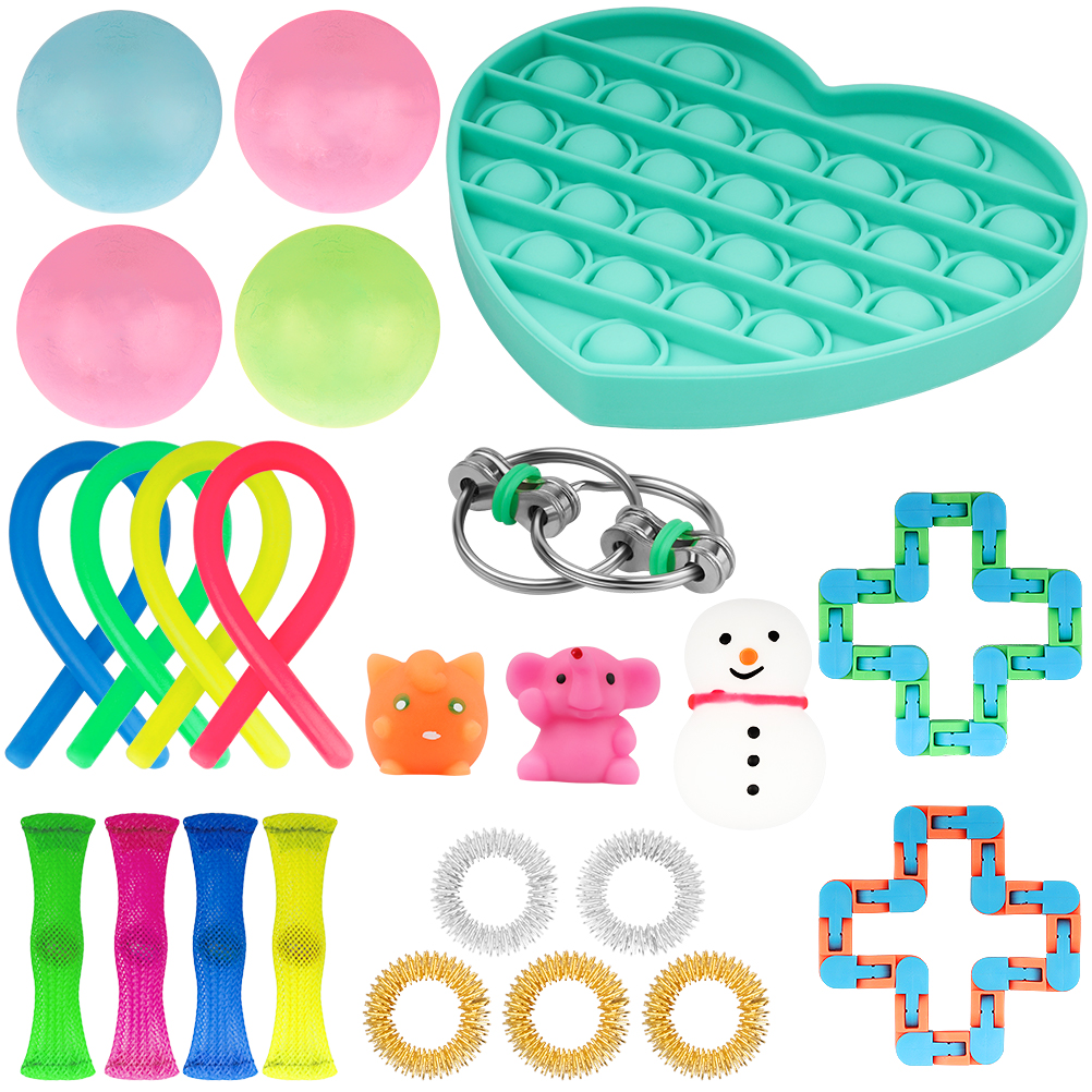 20/24 Pack Fidget Sensory Toy Set Stress Relief Toys Autism Anxiety Relief Stress Pop