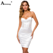 Aimsnug Sexy Female The Dress Solid White Spaghetti Strap Strapless Hollow Splice High Waist Summer New 2019 Women Mini Dress цена 2017