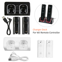 цены 2pcs 2800mAh Rechargeable Battery Packs Remote Charging Dual Charger Station For Wii Remote Controller with USB Cable