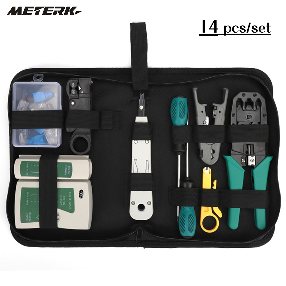 14pcs/set Network Cable Tester Kit Network Tool Kit Network Repair Tool Kit Net Computer Maintenance Tools with Storage Pouch