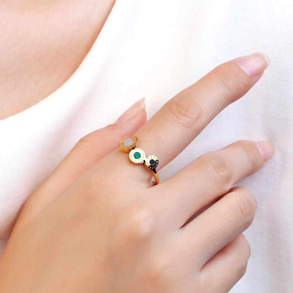 Fashion Simple Roman Malachite Ring Stainless Steel Rose Gold Color Finger Jewelry Rings for Women Luxury Brand Gift  - buy with discount